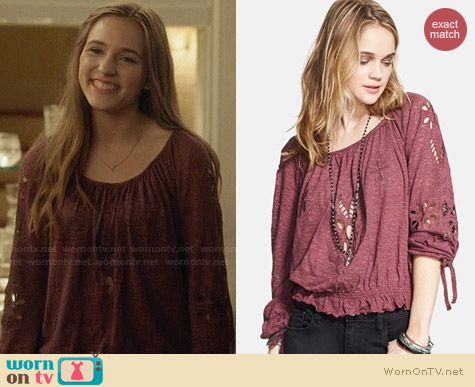 Free People Jewel Blouse in Dark Berry worn by Lennon Stella on Nashville
