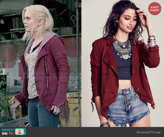 Free People Knit Moto Jacket in Merlot worn by Rose McIver on iZombie