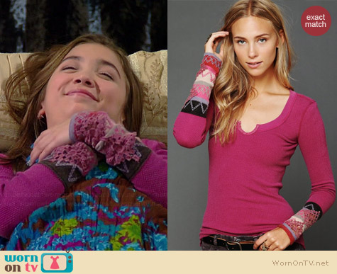 Free People Kombucha Cuff Thermal in Boysenberry worn by Rowan Blanchard on Girl Meets World