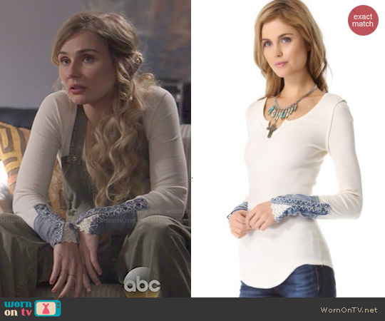 Free People Kyoto Cuff Thermal Top worn by Clare Bowen on Nashville