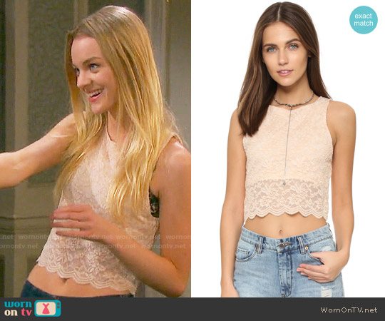 Free People Lace Crop Tank in Almond worn by Olivia Rose Keegan on Days of our Lives