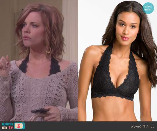 Free People Lace Halter Bra in Black worn by Melanie Jonas on Days of our Lives