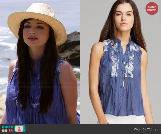 Free People Sleeveless Lace Inset Collar Buttondown worn by Ashley Rickards on Awkward