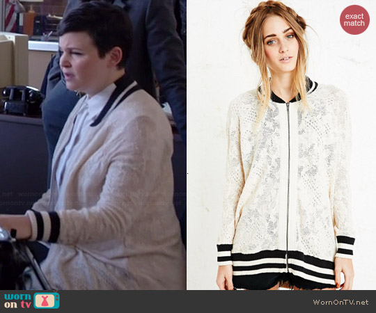 Free People Team Lace Varsity Jacket worn by Ginnifer Goodwin on OUAT