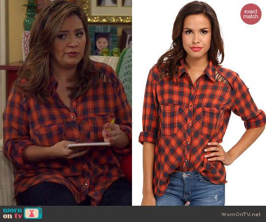 Free People Plaid Lace Up Button Down Shirt in Denim Combo worn by Christela Alonzo on Cristela
