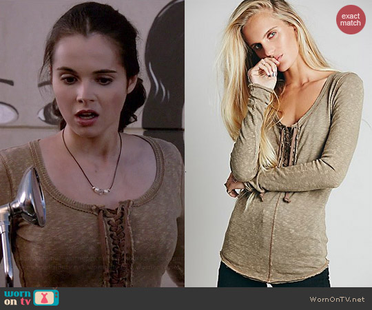 Free People Lace Up Layering Top in Taupe worn by Vanessa Marano on Switched at Birth