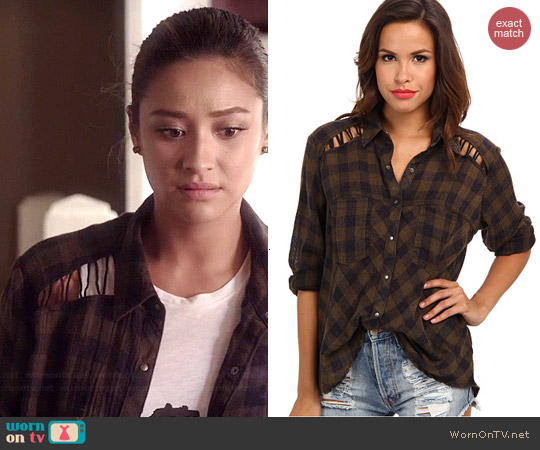 Free People Lace Up Plaid Shirt worn by Shay Mitchell on PLL
