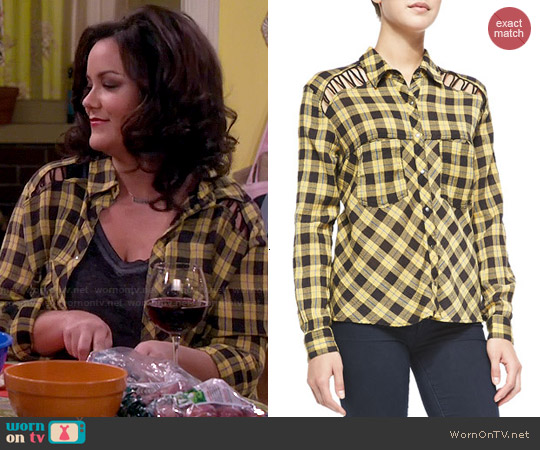 Free People Plaid Lace Up Button Down worn by Katy Mixon on Mike & Molly