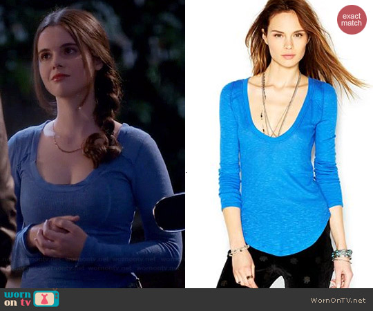 Free People Layering Me Aquatic Blue Top worn by Vanessa Marano on Switched at Birth