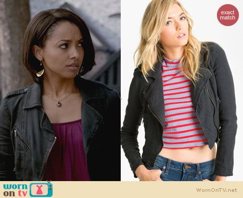 Free People Linen Moto Jacket in Black worn by Kat Graham on The Vampire Diaries