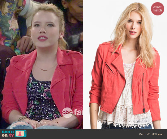 Free People Linen Moto Jacket worn by Lennox Scanlon on Melissa & Joey