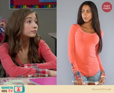 Free People Lou Flannel Cuff Thermal worn by Rowan Blanchard on Girl Meets World