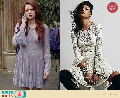 Free People Lovers Folk Song Dress worn by Katie Stevens on Faking It