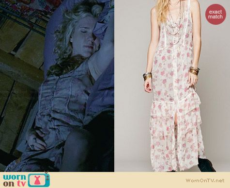Free People Lucy Button Front Maxi Slip worn by Lily Rabe on AHS Coven