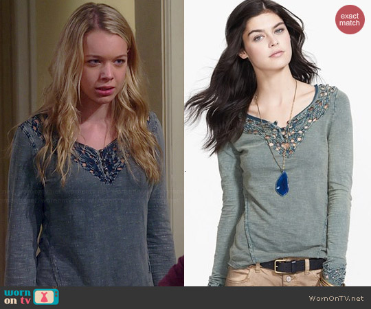 Free People Luna Embroidered Cutout Top worn by Sadie Calvano on Mom