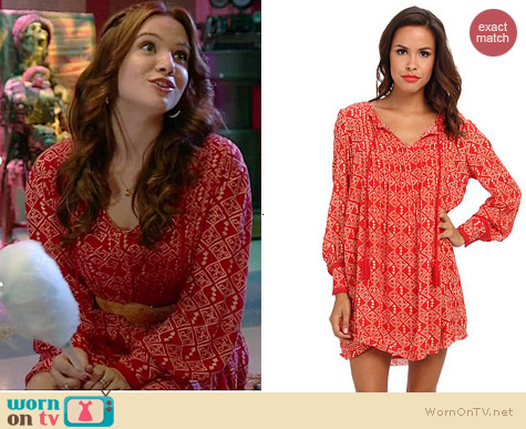 Free People Marlow Dress in Red Combo worn by Katie Stevens on Faking It