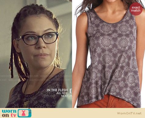 Free People Medallion Print Top in Plum worn by Tatiana Maslany on Orphan Black