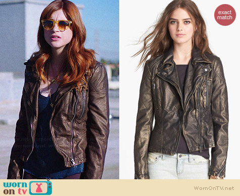 Free People Faux Leather Metallic Jacket worn by Aya Cash on You're the Worst