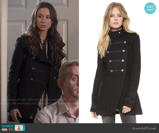 Free People Military Pea Coat worn by Troian Bellisario on PLL