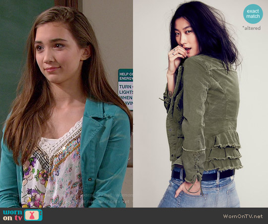 Free People Military Ruffle Twill Jacket worn by Riley Matthews on Girl Meets World