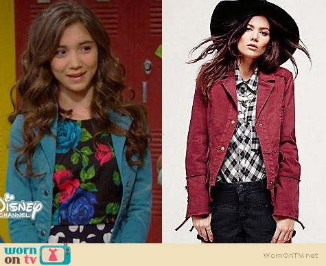 Free People Military Ruffle Twill Jacket worn by Rowan Blanchard on Girl Meets World