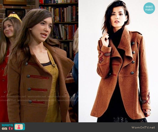 Free People Military Wool Coat worn by Rowan Blanchard on Girl Meets World