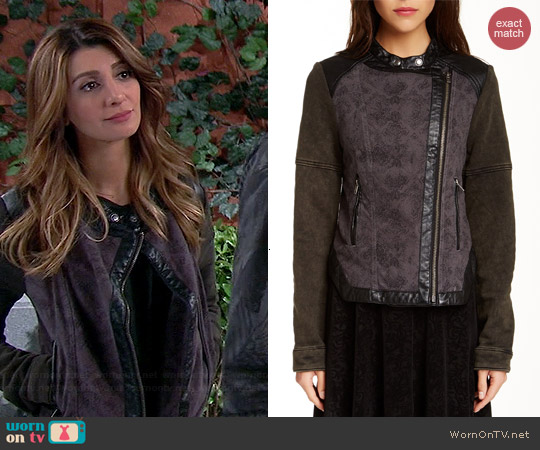 Free People Mixed Media Jacket worn by Nasim Pedrad on Mulaney