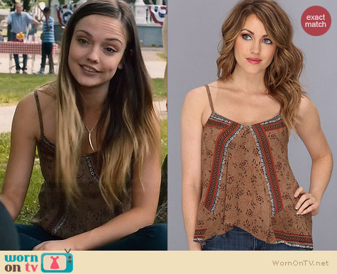 Free People Mixed Print Tank in Taupe Combo worn by Emily Meade on The Leftovers