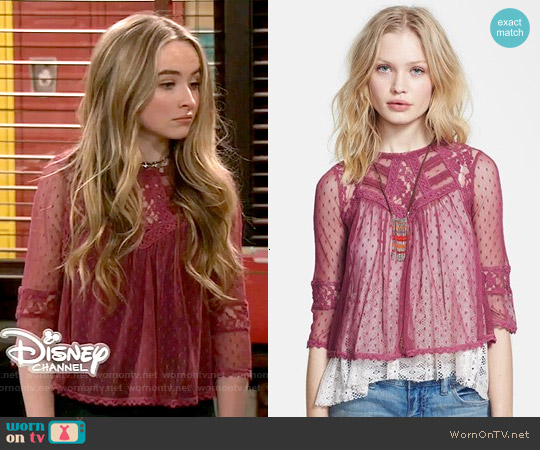 Free People 'Modern Romance' Layered Lace Top worn by Sabrina Carpenter on Girl Meets World