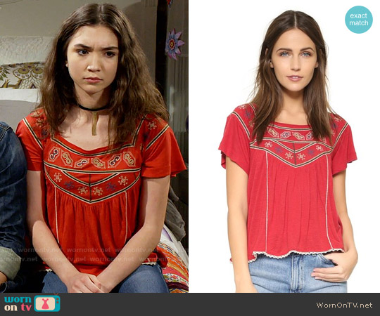 Free People Muse Tee in Red worn by Rowan Blanchard on Girl Meets World