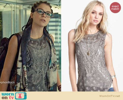 Free People Not So Sweet Lace Tank worn by Tatiana Maslany on Orphan Black