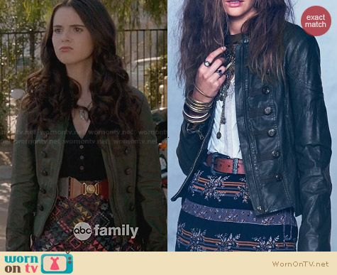 Free People Vegan Leather Military Jacket worn by Bay Kennish on Switched at Birth