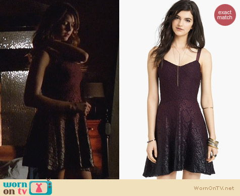 Free People Ombre Foiled Lace Dress in Blackberry Combo worn by Nina Dobrev on The Vampire Diaries