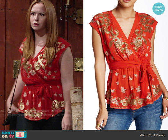 Free People Ooh La La Embroidered Top worn by Camryn Grimes on The Young & the Restless