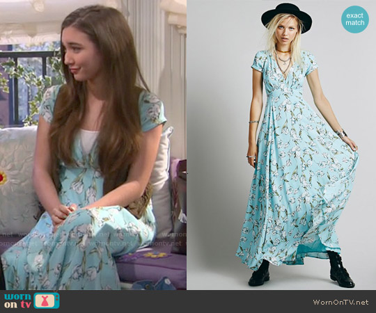 Free People Opal Sunday Maxi Dress in Sky Blue worn by Riley Matthews on Girl Meets World