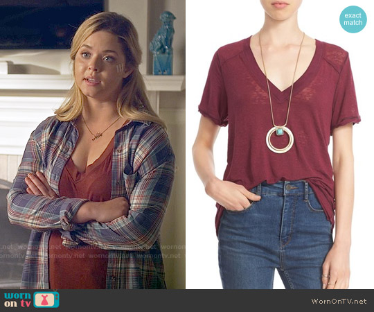 Free People 'Pearls' Raw Edge V-Neck Tee worn by Alison DiLaurentis on PLL