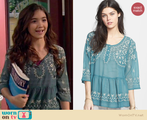 Free People Pennies Sequal Embroidered Top worn by Rowan Blanchard on Girl Meets World