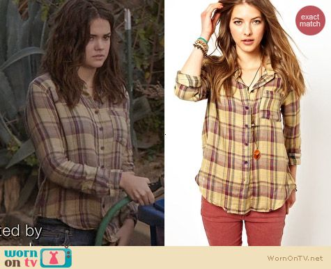 Free People Plaid Button Down Shirt worn by Maia Mitchell on The Fosters