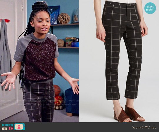 WornOnTV: Zoey's purple lace front top and checked pants on Black ...