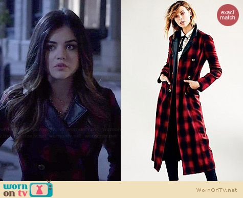 Free People Sergeant Plaid Coat worn by Lucy Hale on PLL