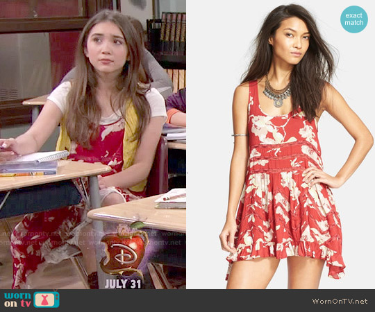 Free People Printed Trapeze Slip Dress in Antique Combo worn by Rowan Blanchard on Girl Meets World