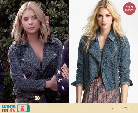 Free People Punched Denim Biker Jacket worn by Ashley Benson on PLL