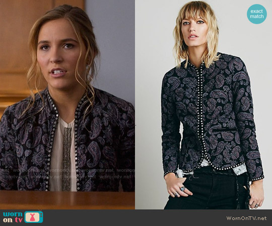 Free People Paisley Quilted Jacket worn by Lennon Stella on Nashville