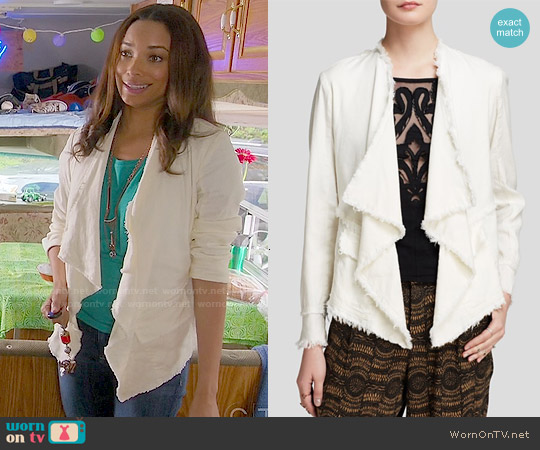 Free People Raw Drapey Jacket worn by Rochelle Aytes on Mistresses