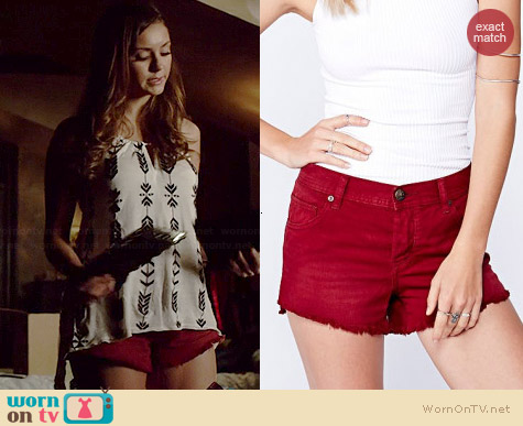Free People Raw Hem Cutoff Shorts in Cranberry worn by Nina Dobrev on The Vampire Diaries