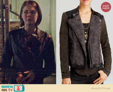Free People Rugged Pieced Faux Leather Trim Moto Jacket worn by Willa Holland on Arrow