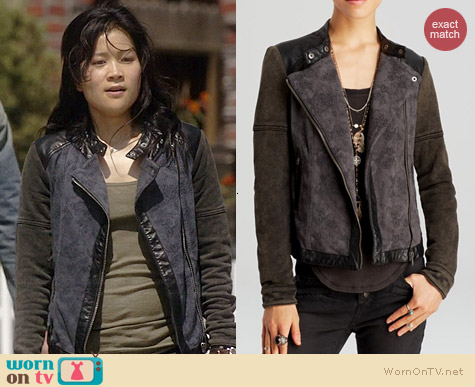 Free People Rugged Pieced Faux Leather Trim Moto Jacket worn by Jadyn Wong on Scorpion