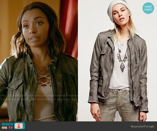 Free People Rumpled Leather Blazer worn by Bonnie Bennett on The Vampire Diaries
