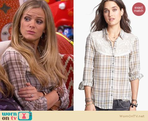 Free People Saddle Up Lace Yoke Plaid Shirt worn by Brooklyn Decker on FWBL