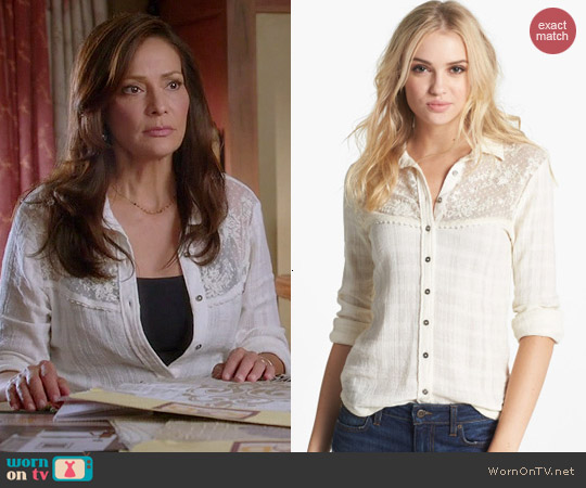 Free People Saddle Up Lace Yoke Shirt worn by Constance Marie on Switched at Birth